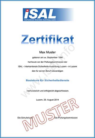 Zertifikat - ISAL - Interkantonale Sicherheits-Ausbildung Luzern